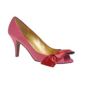 J. Crew Lulu Leather Tulip Pink Peep Toe Heels